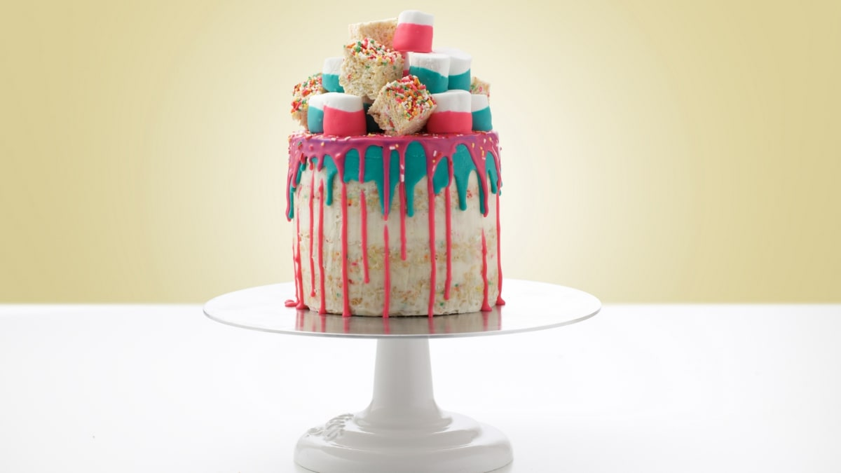 This Krispy treat drip layer cake is a fun way to experiment with baking.